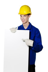 Lehrling / Azubi als Handwerker und Plakat