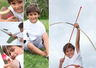 Montage of little boy with bow and arrow