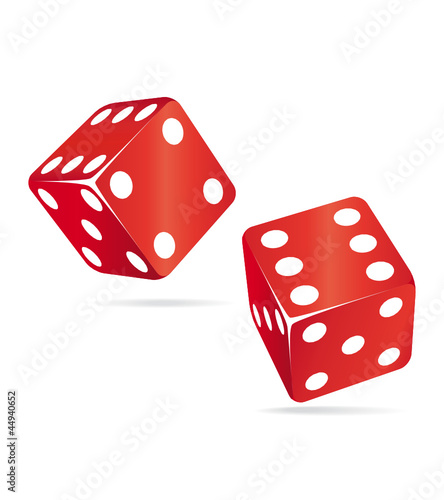 Two red rolling dices. Chance concept.