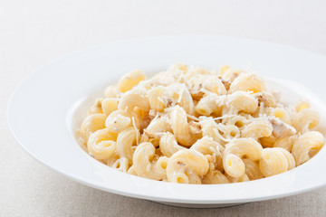 plate of macaroni with cheese sauce