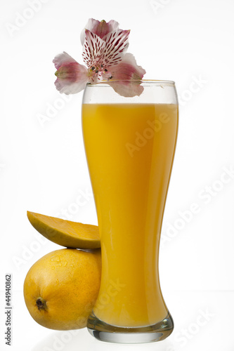 image of mangoes and juice glass