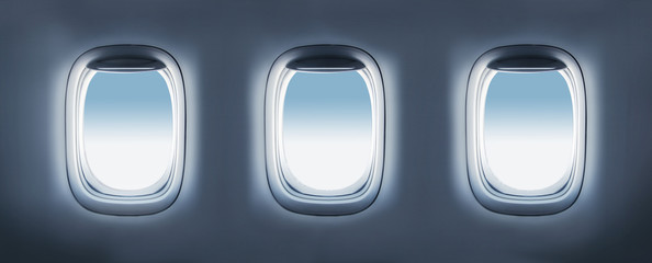 three aircraft's porthole