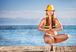 Yoga in yellow hat