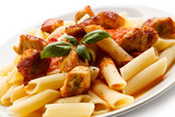 Pasta with roasted chicken meat and tomato sauce
