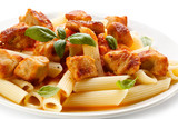 Pasta with roasted chicken and tomato sauce