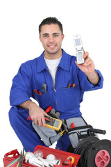 Electrician showing off mobile