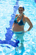 Smiling happy pregnant woman in swimming pool