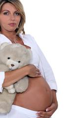 A pregnant woman.