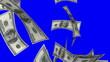 Falling Dollars (Loop on Blue Screen)