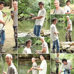 Montage of two men fishing