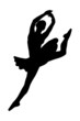 A silhouette of a ballerina dancer jumping