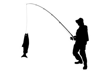A silhouette of a fisherman with a fish