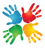 Teamwork hands helping/giving logo