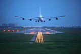 Fototapety passenger plane fly up over take-off runway from airport