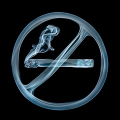 No smoking sign created from smoke