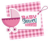 Baby Girl Stroller Invitation Card