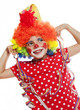 little girl with clown costume