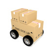 Shipping cardboard boxes with wheels
