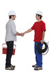 duo of electrician shaking hands