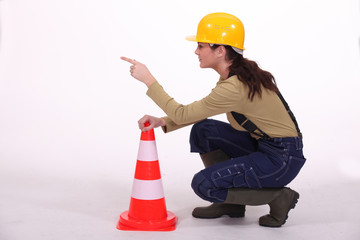 Worker controlling traffic