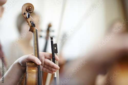 Close-up of the neck of a violin with a bow - 44950459