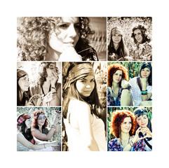 Junge Hippie Frauen Collage