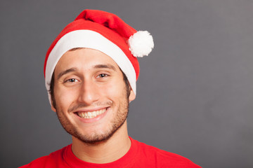 Young Man with Santa Hat, Copy Space