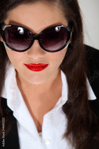 Woman wearing bug-eye sunglasses