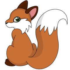 Illustration of cute little cartoon fox