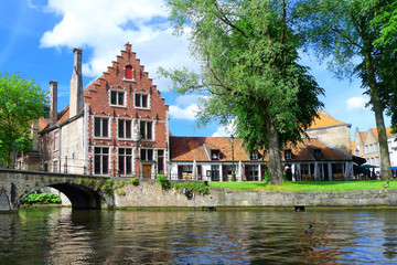 beautiful view of bruges from the canal