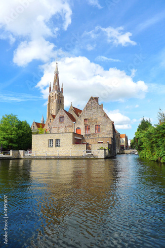 ancient castle near river in Bruges