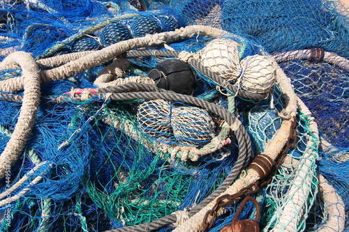 nets and fishing gear at sea