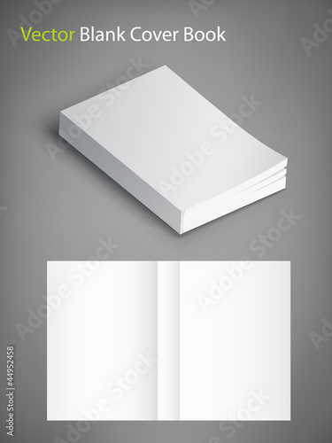 Blank book cover vector illustration. Template for your design.