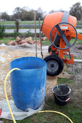Portable cement mixer on site