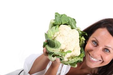 pretty woman with cauliflower