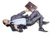 Drunk businessman on the floor