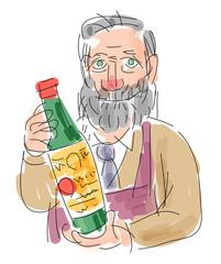 ワインを案内する男性