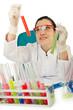 Female chemist in studio on white