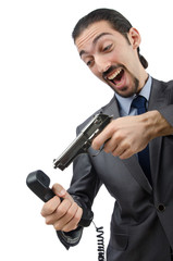 Angry businessman killing the phone