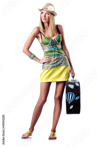 Woman preparing for beach vacation