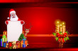 santa with white sign isolated on red background