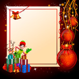 elves on red christmas background with balls poster
