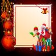 christmas santa with elves and christmas balls