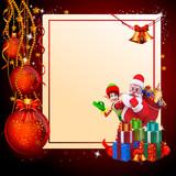 christmas santa with elves and christmas balls poster