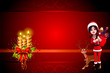 santa girl carryinfg a gift bag isolated on red background