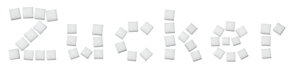 Zuckerwürfel formen das Wort Zucker