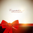 Holiday banner with red ribbons. Vector background.