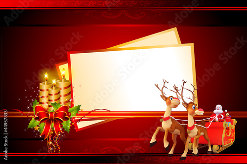 santa and his sleigh with a big cards on red background