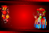 elves carrying a big gift isolated on red background