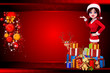 santa girl pointing towards red background with gifts